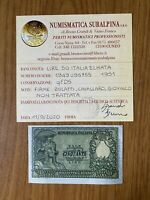 banconota LIRE 50 ITALIA ELMATA 1951 BOLAFFI certificata qFDS SUBALPINA
