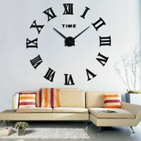 Quartz Wall Clock Home Decor Large Roman Mirror Fashion Modern  Living Room Diy