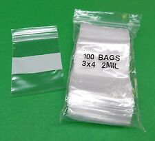 "100 3x4 WHITE BLOCK ZIPLOCK BAGS 2Mil CLEAR POLY WRITEABLE ZIP LOCK 3""x4"""