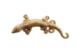 Maniglia Da Porta Gecko IN Ottone Fatto Mano Peterandclo 7743 E3