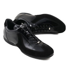 NIB $720 SANTONI for AMG 'SLS' Black Leather and Suede Sneakers US 7 Shoes