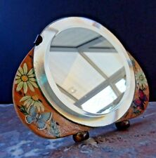 Small Bevelled Table Top Vanity Easel Mirror Hand Painted Frame Art Deco 1930s