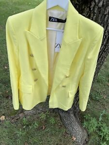 NWT ZARA LIGHT YELLOW TAILORED DOUBLE BREASTED BLAZER PRONOUNCED SHOULDERS Small