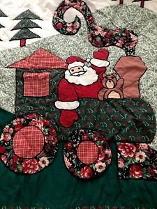 """Hand Quilted Holiday Applique Christmas Quilt Santa Trees Throw Blanket  59""""x47"""""""