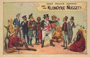 Original Vintage Poster Klondyke Nugget John Bull's Advice 1898 England