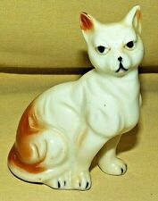Cat Figurine Kitten Kitty Figure Abyssinian White Brown Vintage Nice Collectibl.