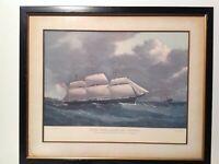 ANTIQUE PRINT 1962 SAILING SHIP 'THE REYNARD' FRAMED IN GLASS