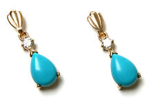 9ct Gold Turquoise and CZ Teardrop dangly drop Earrings Made in UK Gift Boxed