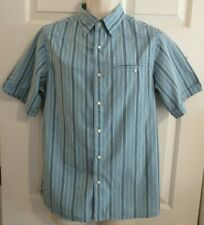 MOUNTAIN KHAKIS Men's SMALL Blue Stripe El Camino Pearl Snap Shirt S/S NWT