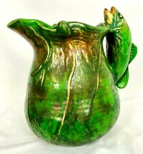 "WELLER MARKED COPPERTONE 7 5/8"" FISH HANDLED PITCHER Mrked 29 T,   c1920'S"