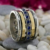 Spinner Two Tone 9k Yellow Gold Silver 1.6 Carat Sapphire Gemstone Ring Size