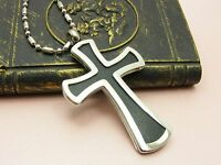 STAINLESS STEEL Large Black/Silver CROSS PENDANT Leather Cord or Chain NECKLACE