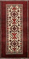 Vintage Ivory Geometric Balouch Area Rug 3x6 Tribal Hand-Knotted Oriental Carpet