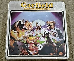 Garfield 25th Anniversary COLLECTORS TIN Jigsaw Puzzle 550 PC Poker Playing Dogs