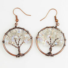 White Opal Opalite Chip Beads Tree of Life Copper Round Pendant Hook Earrings