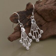 Earrings Drop Dangle Retro Floral Textured Ladies 925 Sterling Silver Fashion