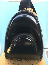 GUCCI authentic black leather backpack women with bamboo details.