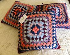 "Lot of 3 Handmade Crochet Cushion Covers 🌸 Vintage Retro 🌸 16"" Granny Square"