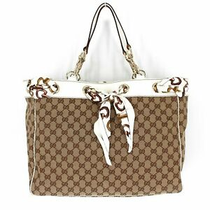 NWT Gucci Positano Tote GG Canvas Silk Scarf Grommets Leather Trim Large Bag NEW