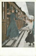 c1914 Germany Military Railroad Soldiers Romantic Farewell Wennerberg Postcard