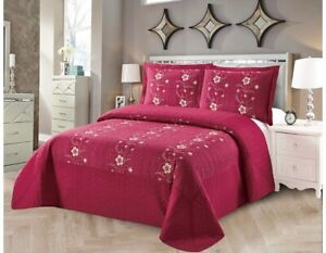 SOFIA FLOWERS EMBROIDERED BEDSPREAD COVERLET SET 3 PCS CAL KING SIZE BURGUNDY
