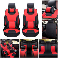 US Car Mircrofiber Leather Seat Cover 5-Seat SUV Front+Rear Cushion Mat w/Pillow