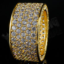 18K Gold 11mm ETERNITY Wedding Engagement Band MICROPAVE CZ Iced Out Mens Ring