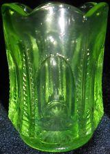 Green Vaseline glass toothpick holder uranium Canary yellow match box art fluted