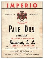 Imperio Pale Dry Sherry Bottle Label *L11