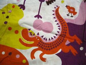 IKEA Sangfagel Twin Duvet Dragon Bird Alligator Purple Orange Pink w Polka Dots