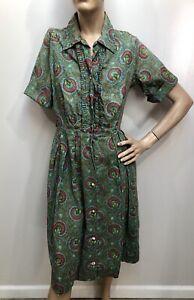 VTG 1950s MID-CENTURY PAISLEY PRINT Shirtwaist TUXEDO FRONT DAY DRESS Sz-36 $12.