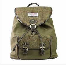 Rucksack, Backpack With Genuine Harris Tweed in a Green Herringbone Design