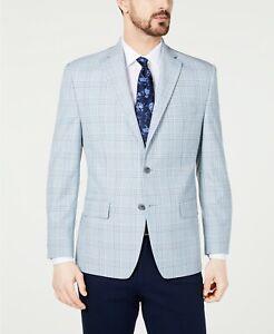 Michael Kors Classic-Fit Blue/Cream Windowpane Plaid Sport Coat 42L 42 $295