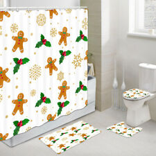 Gingerbread Man and Red Fruit Shower Curtains Set, Bath Rug & Toilet Mat 4PCS