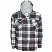 MENS LUMBERJACK PADDED SHIRT FUR FLEECE LINED FLANNEL WORK JACKET WARM THICK TOP