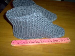 """New, hand crochet slippers,boot style 12 to 13 """" Large"""