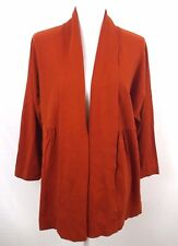EAST 5TH Women's Cardigan Top Size 1X Long Sleeve Open Front Cotton Blend Brick