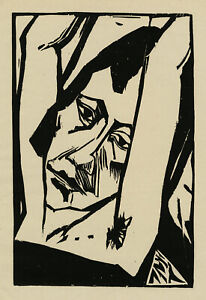 ERICH HECKEL - 'MÄDCHENKOPF (HEAD OF A GIRL)', woodcut, 1913.