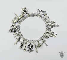 Beauty and the Beast Fairy Tale Story Book Inspired Silver Plated Charm Bracelet