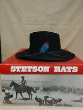 Vintage Stetson Stallion Hat - Fur Felt Black - Wide Brim Feather