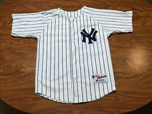 BOYS USED VINTAGE RUSSELL NEW YORK YANKEES BASEBALL JERSEY YOUTH SIZE 10/12
