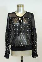 womens blue embroidered polka dot FREE PEOPLE sheer tie neck shirt top blouse S