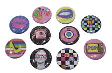 Badge 3cm Rétro POP Vintage 80's Disquer vinyl, téléphone Socotel, Rayban, Télé