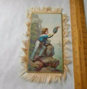 ATTRACTIVE VICTORIAN DOUBLE SIDED HAPPY CHRISTMAS AND BRIGHT NEW YEAR c1880-90s