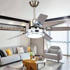 52� Ceiling Fan Light 5 Stainless Steel Blades Led Fan Lamp w/ Remote Control