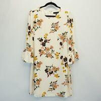 Sanctuary Womens Dress Bell Sleeves Mini Daytime Floral Dress Woodlands Cream M