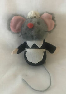 Vintage Wallace Berrie 1979 Gray MOUSE Pink  FELT EARS maid outfit plush stuffed