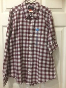 NWT Place Boys Size XL 14 Button Front Long Sleeve Dress Shirt Burgundy Check