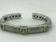 Judith Ripka Sterling Silver 18K yellow Gold Diamond & Peridot Bangle Bracelet