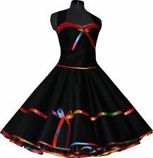 Elegante negro 50er vestido de baile para Petticoat graffitty rojo Jugendweihe 34-44